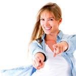 Smiling woman pointing canstockphoto10367682